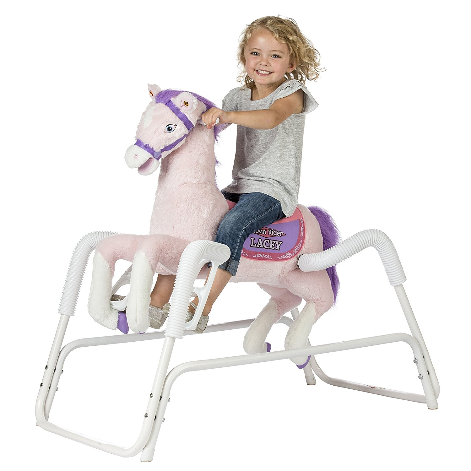 Rockin' Rider pink spring rocking horse for toddlers kids ride on toy | Kids Rocking Horse Toys