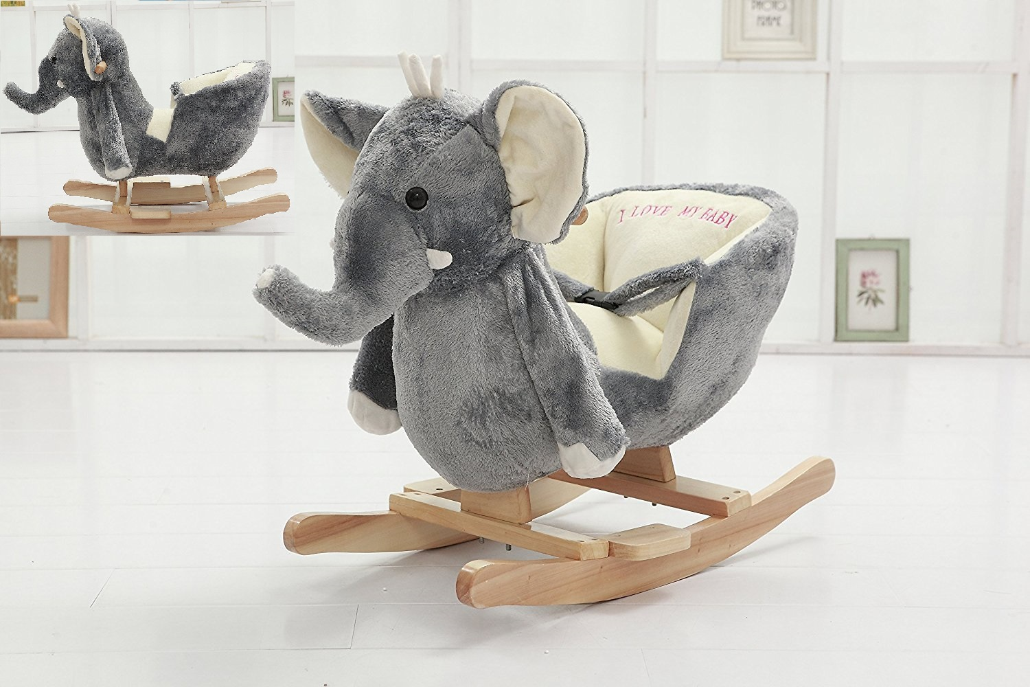 DanyBaby rocking elephant chair stuffed plush toddler ...