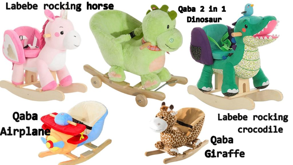 Stuffed Plush Rocking Animals Horse Dinosaur Giraffe With Seats Chairs  Safety Belts Ride On Toys For