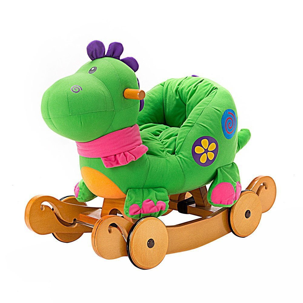 rocking dinosaur with seat and wheels for 1 2 year old babies toddlers rocker toy to ride on. Black Bedroom Furniture Sets. Home Design Ideas
