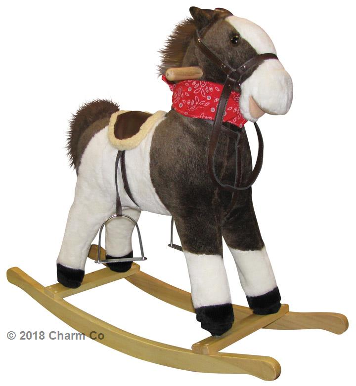 Childs Plush Rocking Horse Animal Neighing Sounds Moving Mouth Tail Ride On Toy