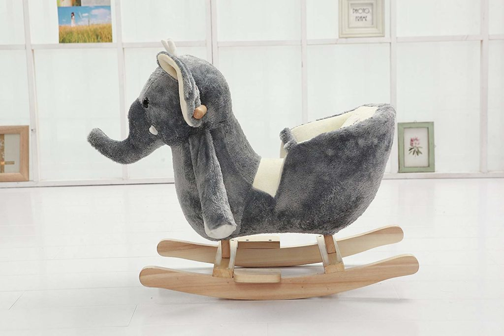 Plush Rocking Elephant With Seat And Belt For Babies And Toddlers