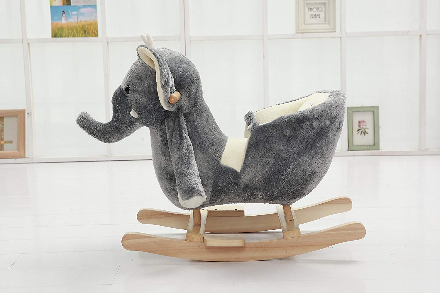 Plush Rocking Elephant Animal With Seat Belt For Babies And