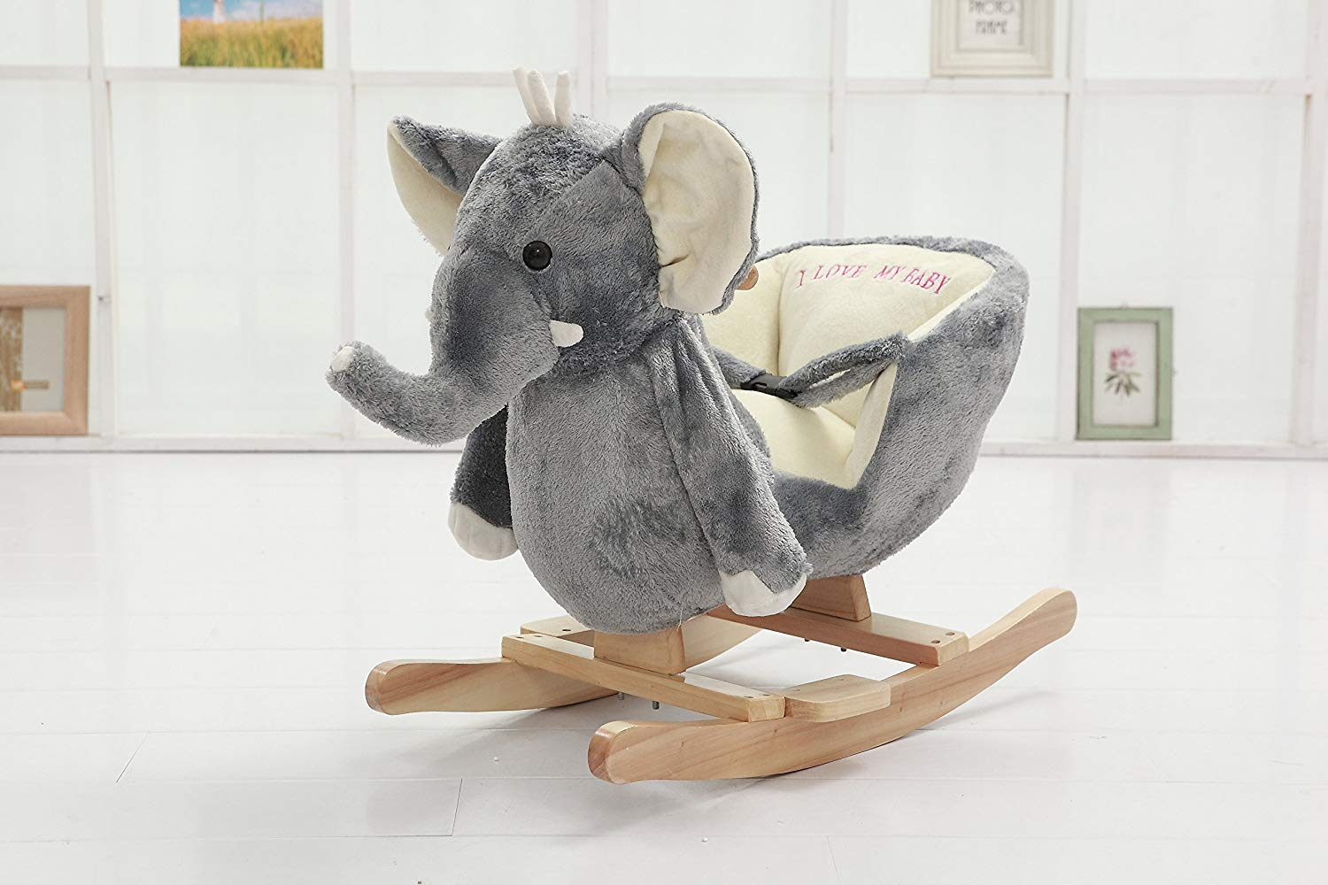 02d9ac486211 Large soft plush rocking elephant chair for child s nursery room
