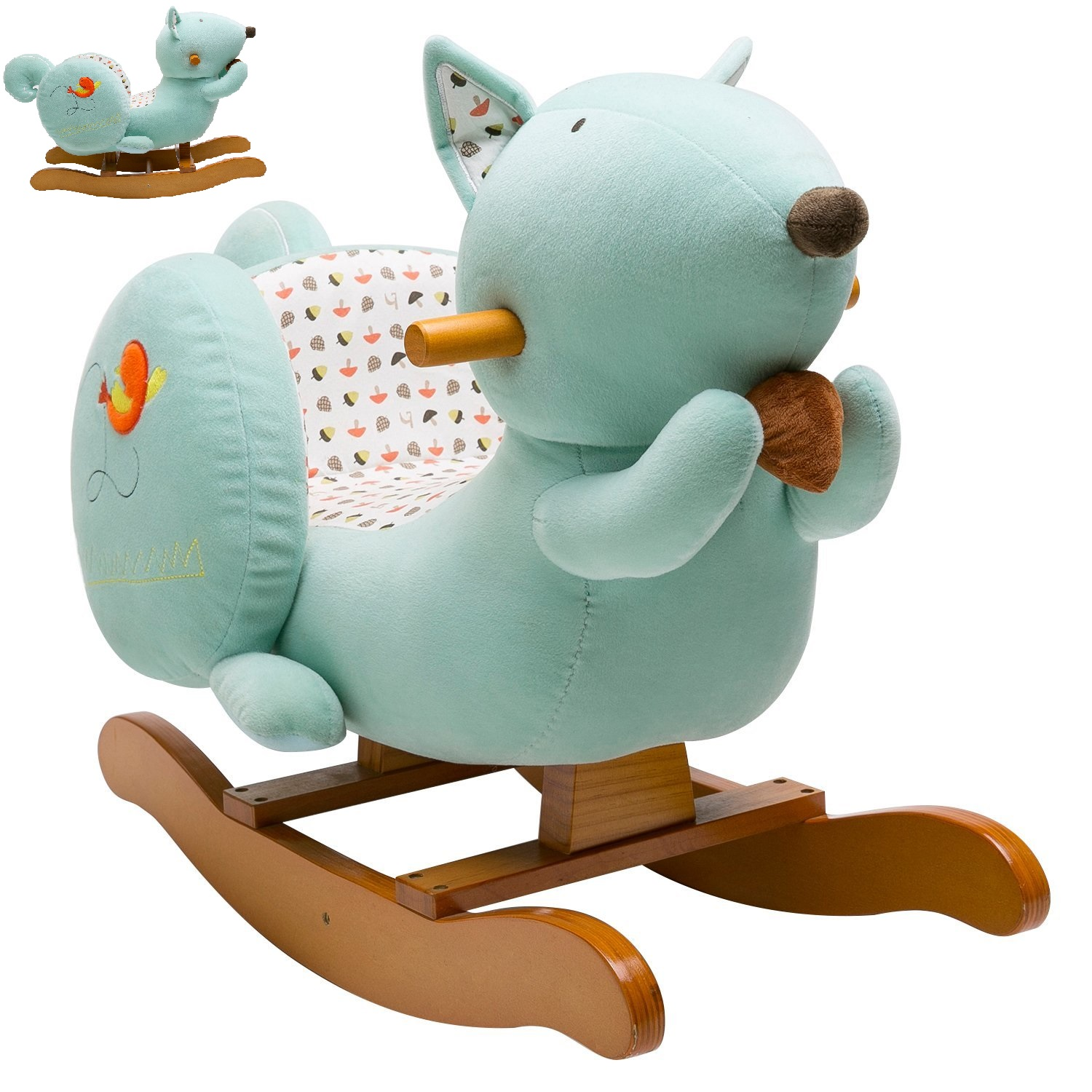 Labebe rocking animal squirrel ride on toy with chair babies