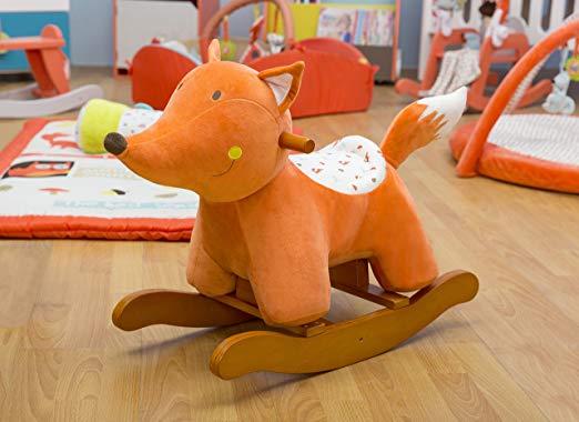 Orange Fox Plush Rocking Chair Rocker For Baby Kids Rocking Horse Toys