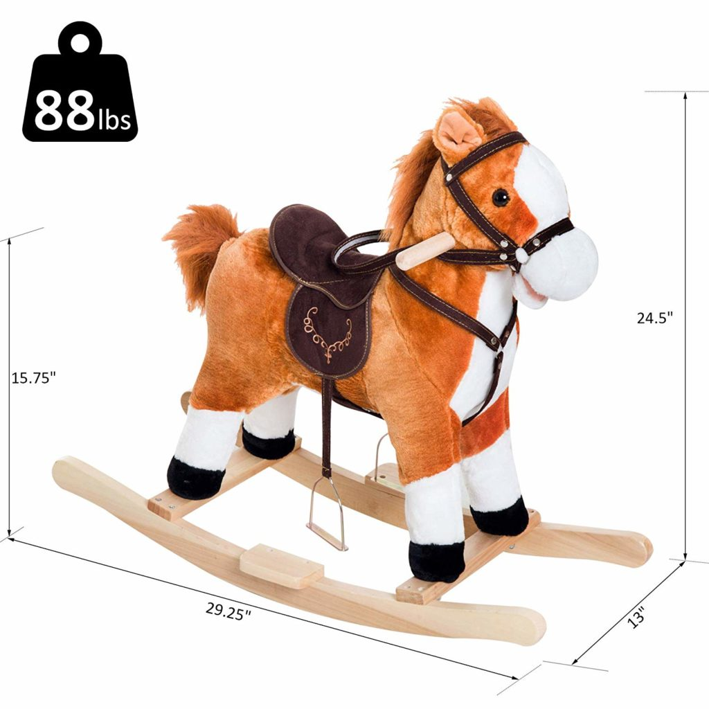 Qaba Plush Rocking Horse With Sound And Movement Dimensions Kids Rocking Horse Toys